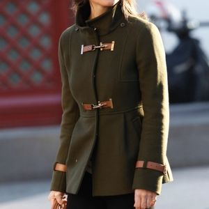 Fay funnel neck olive green coat